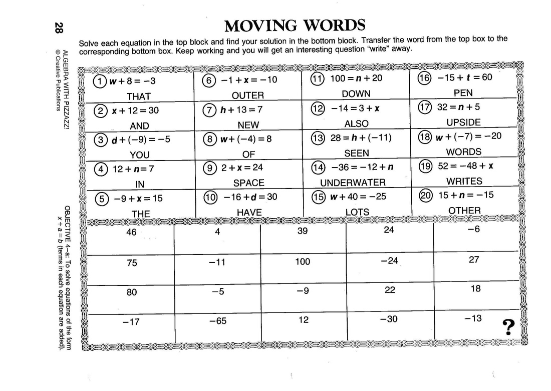 Pizzazz homework answers – Pizzazz Worksheets